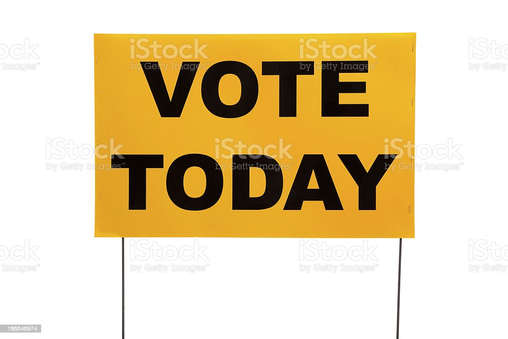 Yellow yard sign with 'Vote today' on it royalty-free stock photo