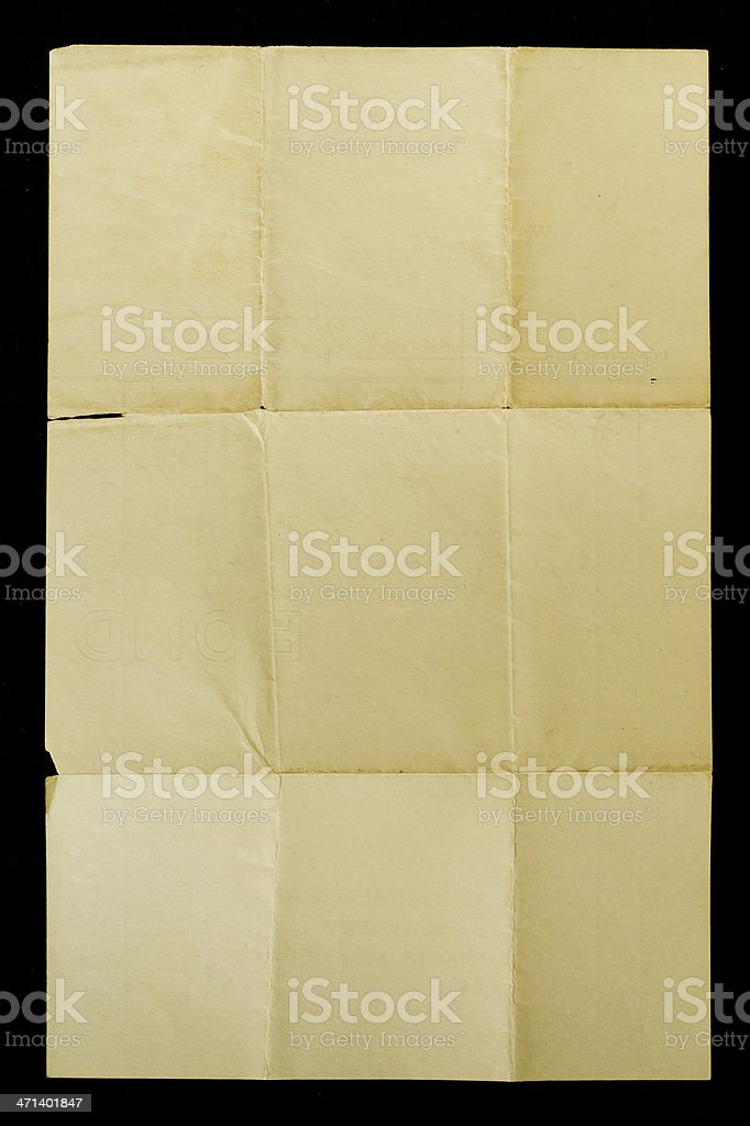 Yellowed Creased Torn Paper for Background or Texture stock photo