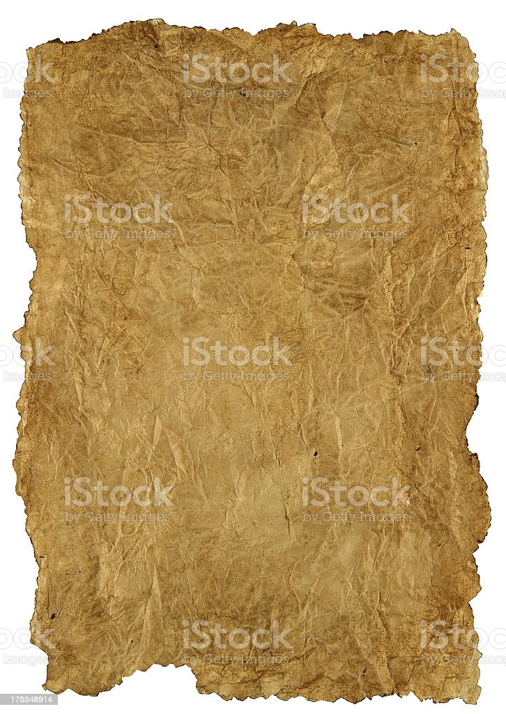 yellowed crumpled sheet of paper stock photo