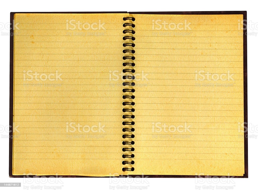 yellowed open notebook royalty-free stock photo