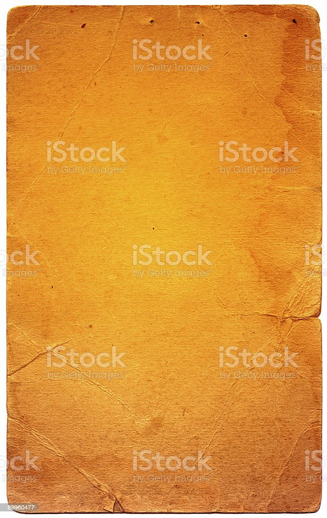 yellowed sheet of card royalty-free stock photo