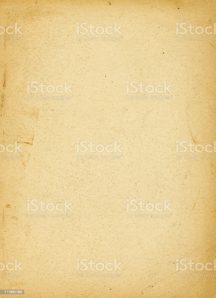 Yellowing piece of aged blank paper stock photo