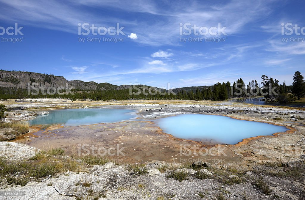 Yellowstone : Cloudy hot springs at Black Sand Basin royalty-free stock photo