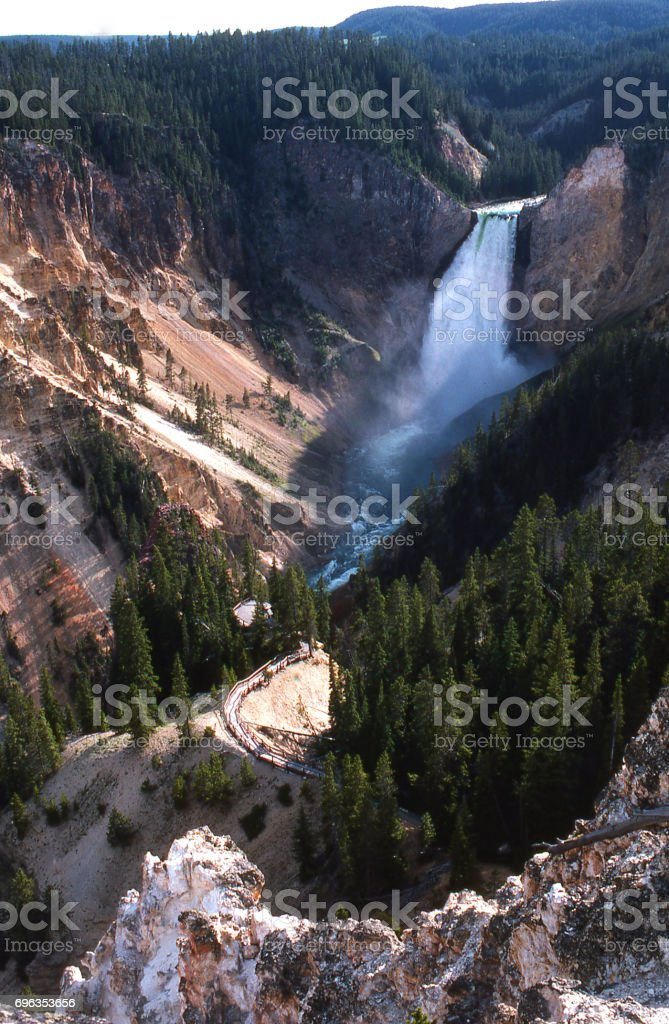 Yellowstone Falls and the Grand Canyon of the Yellowstone in Yellowstone National Park Wyoming stock photo