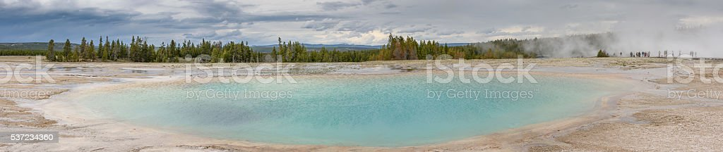 Yellowstone Grand Prismatic Blue Spring Panorama with People stock photo