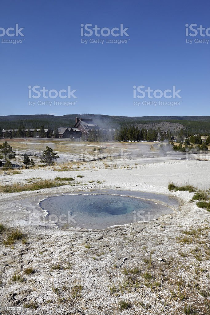 Yellowstone : Hot Spring and Historic Lodge royalty-free stock photo