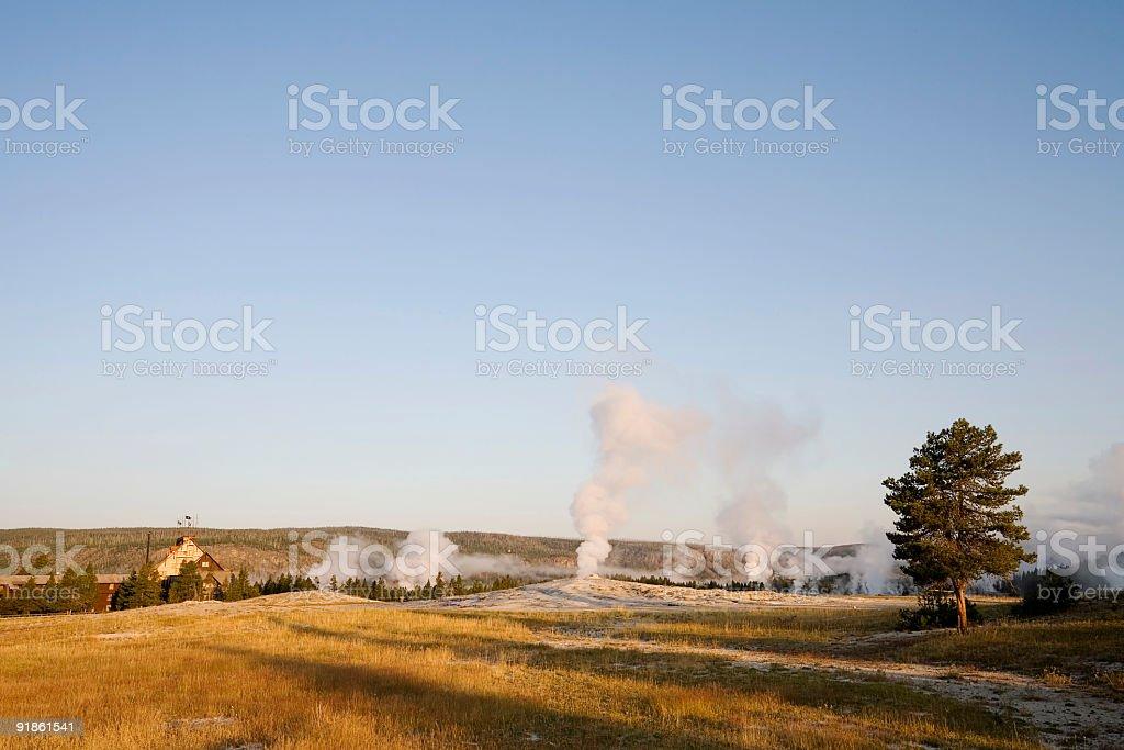 Yellowstone Inn and Upper Geyser Basin royalty-free stock photo