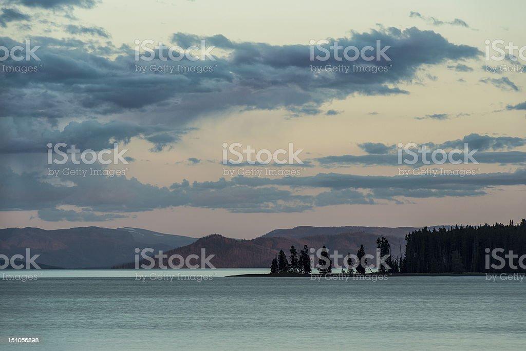 Yellowstone Lake at Dawn stock photo