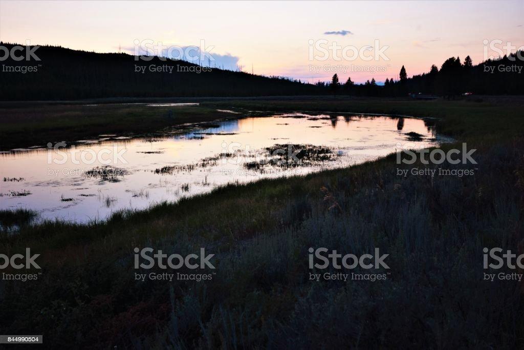 Yellowstone Lake at Sunset stock photo