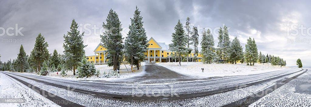 Yellowstone Lake Lodge stock photo