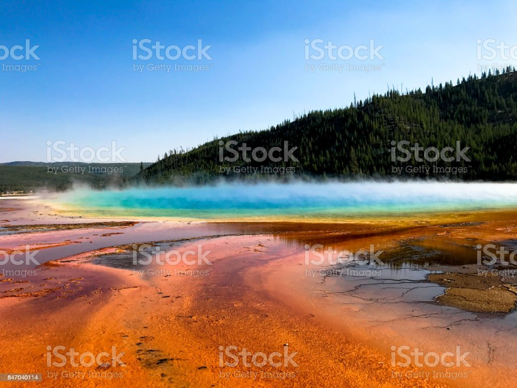 Yellowstone National Park grand prismatic spring stock photo