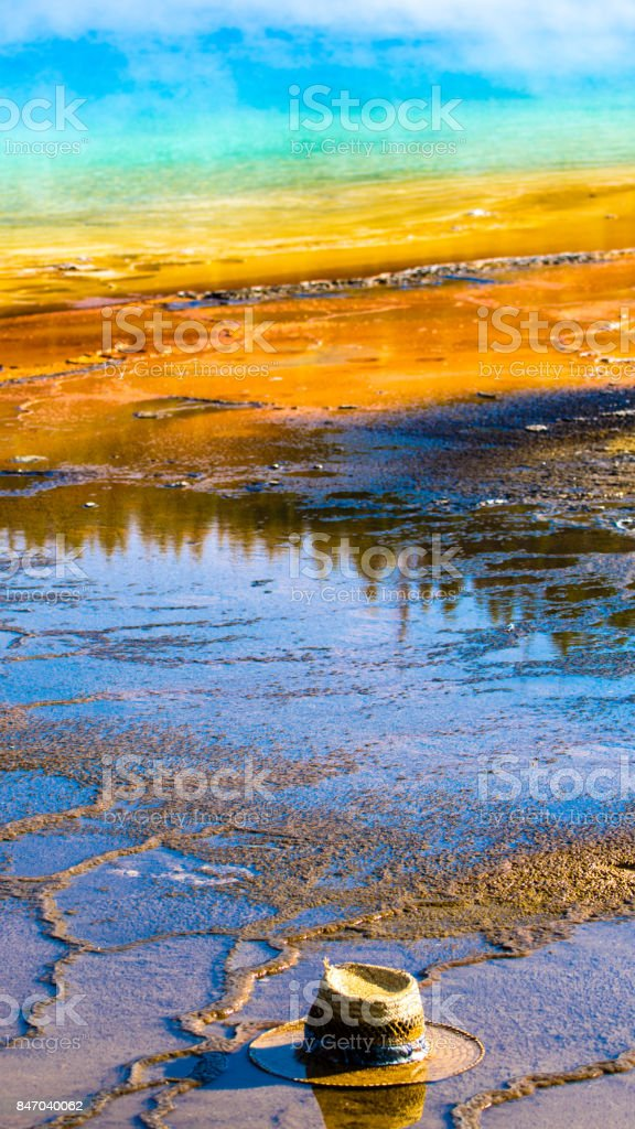 Yellowstone National Park hat in grand prismatic spring stock photo