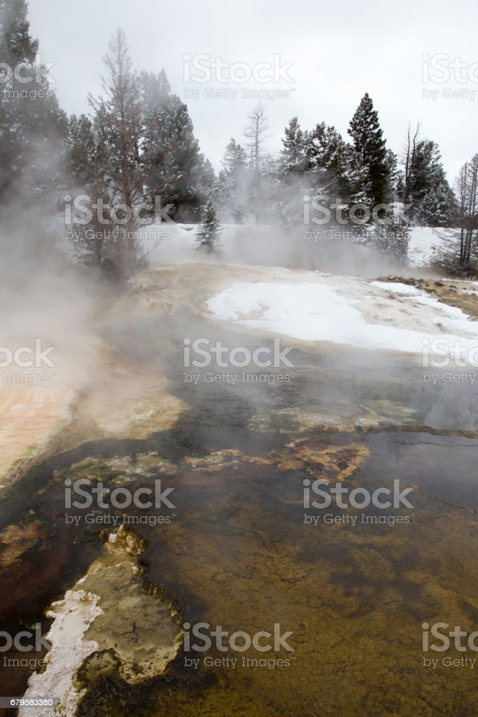 Yellowstone National Park in the Snow. stock photo