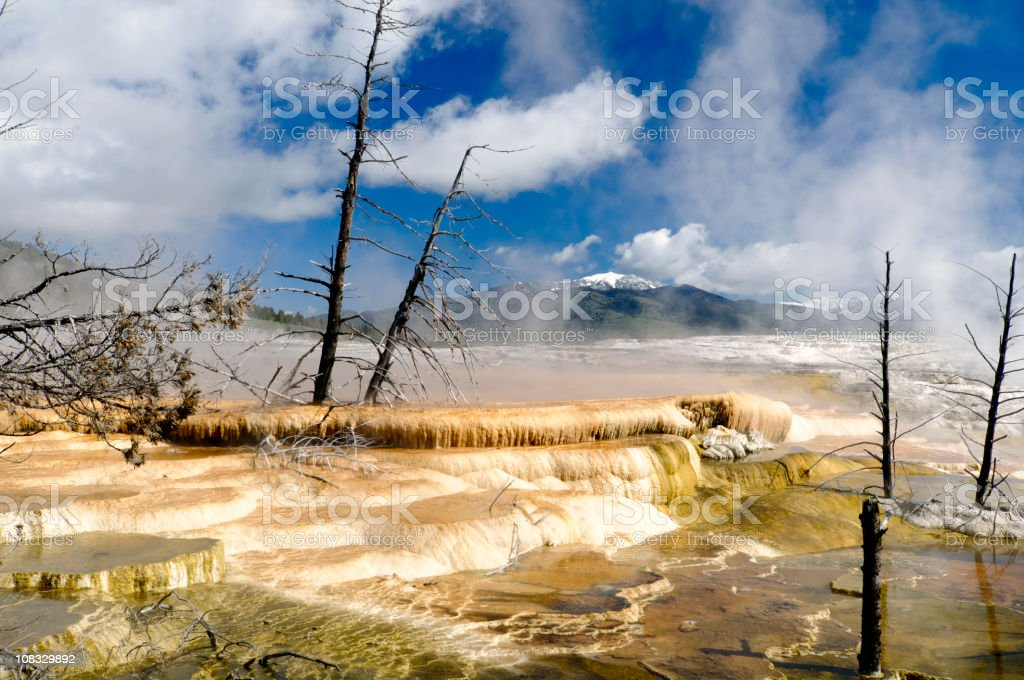 Yellowstone National Park Mammoth Hot Springs Upper Terrace HDR royalty-free stock photo