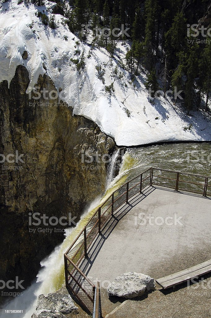 Yellowstone National Park Observation Deck Brink of Lower Falls Waterfall stock photo