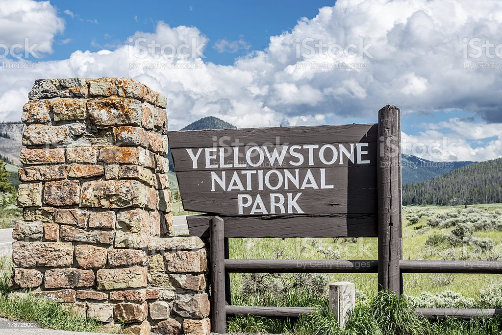 Yellowstone National Park Sign stock photo
