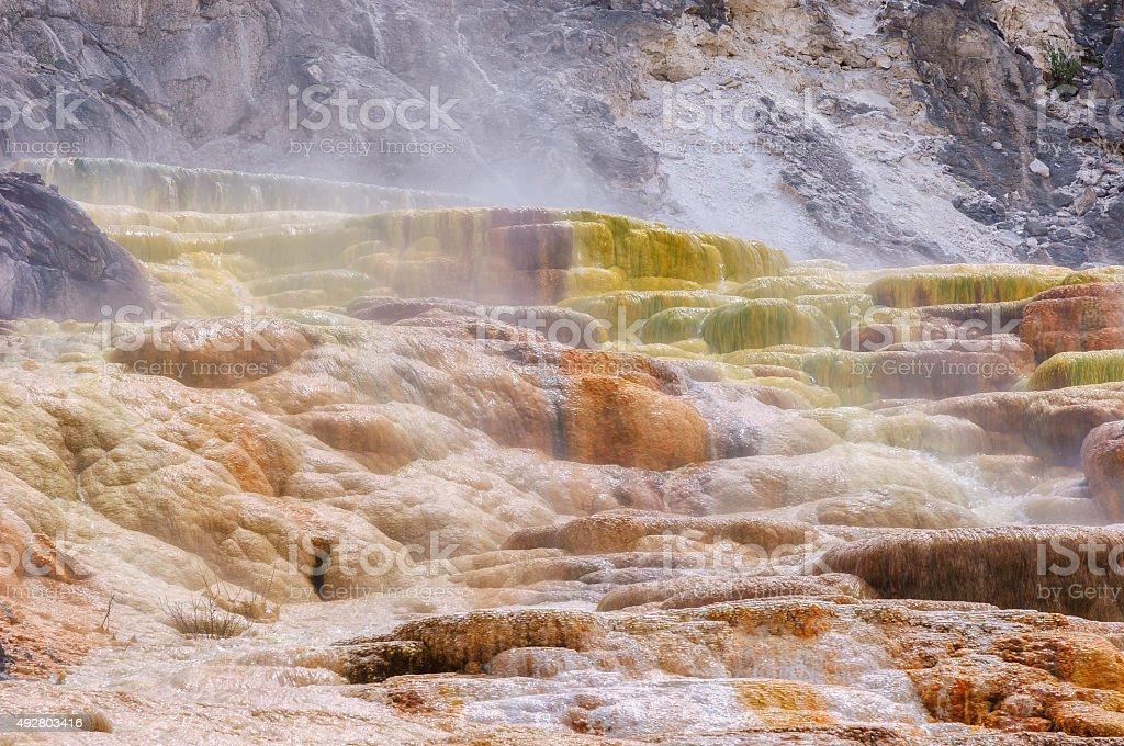 Yellowstone, Palette falls, Travertine Terrace, Mammoth Hot Springs stock photo
