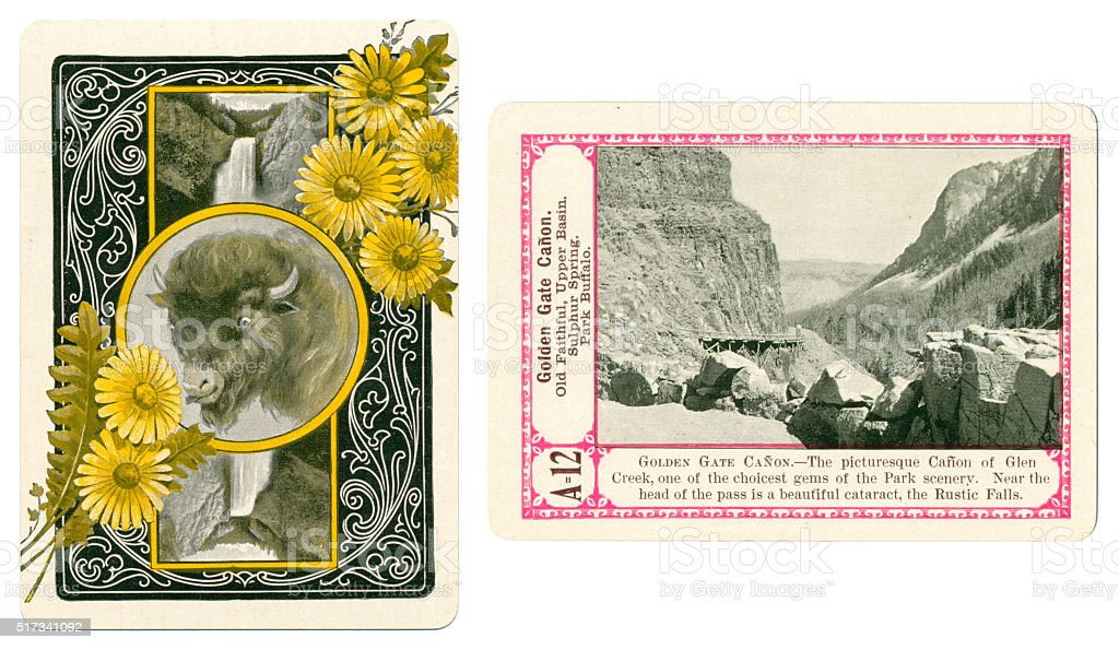 Yellowstone playing card plus back Golden Gate Canyon 1900 stock photo