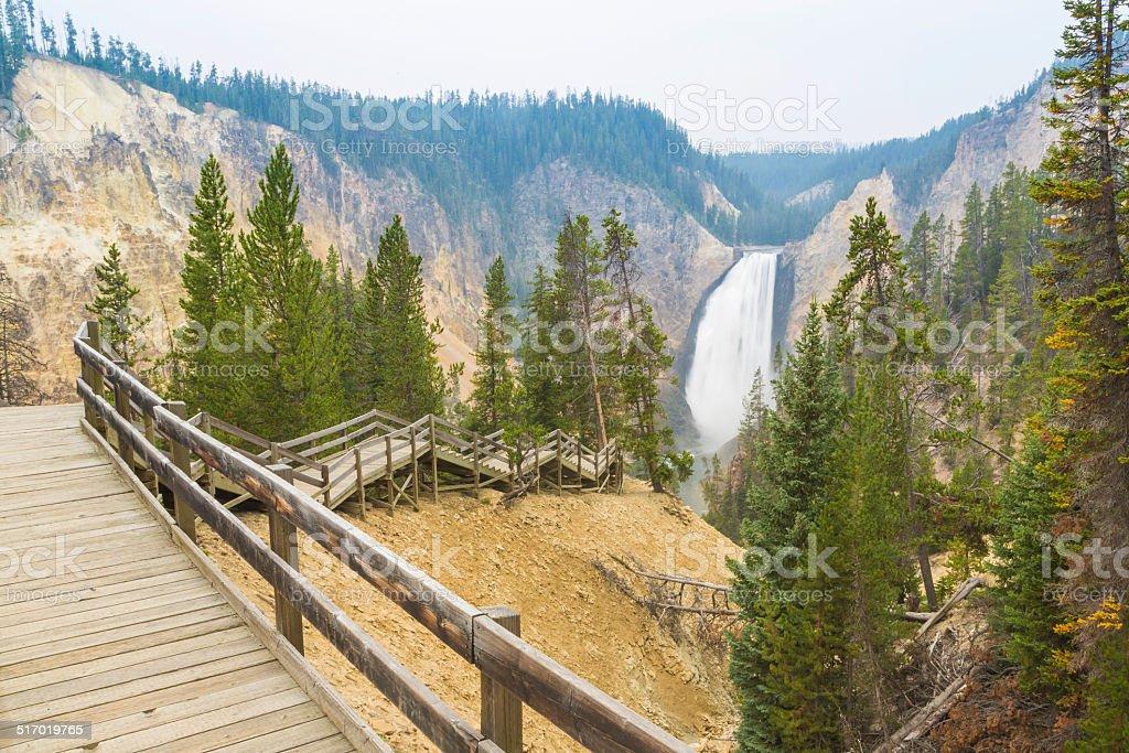 Yellowstone River Falls through Grand Canyon of Yellowstone stock photo
