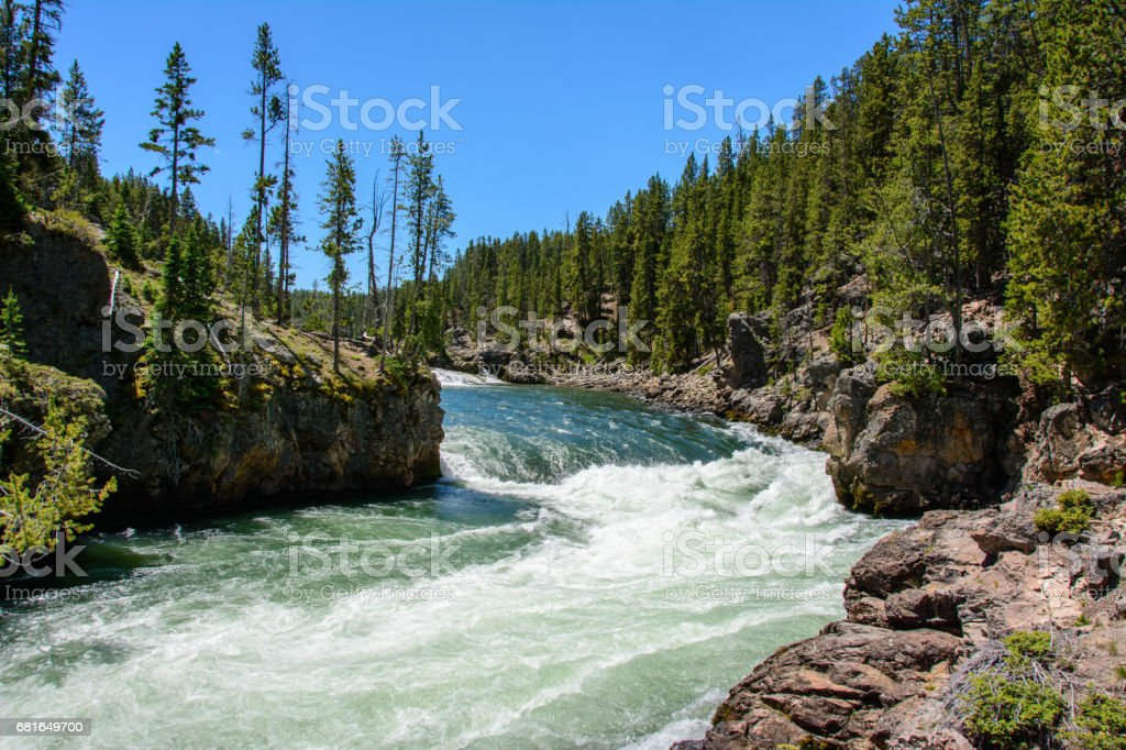 Yellowstone River in the National Park, Wyoming stock photo