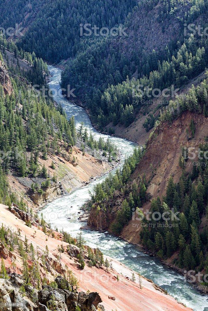 Yellowstone River winding through its canyon stock photo
