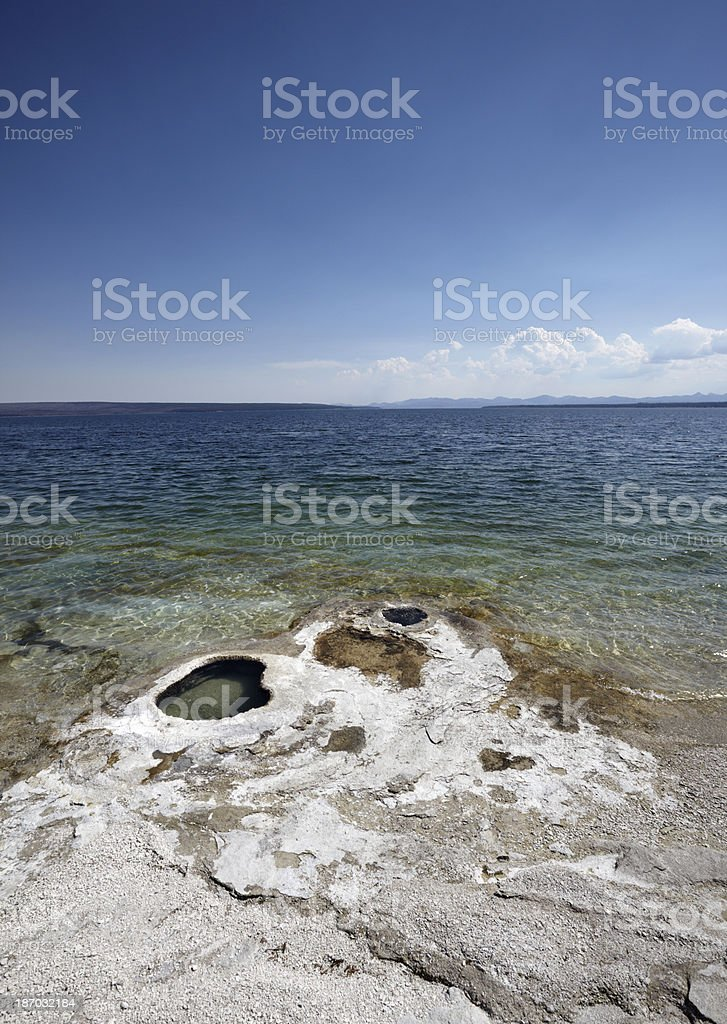 Yellowstone : Thermal Spring and lake royalty-free stock photo