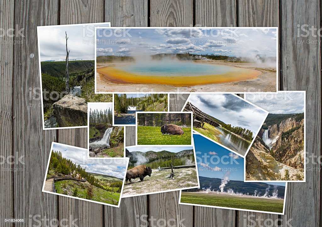 Yellowstone travel tourism concept design stock photo