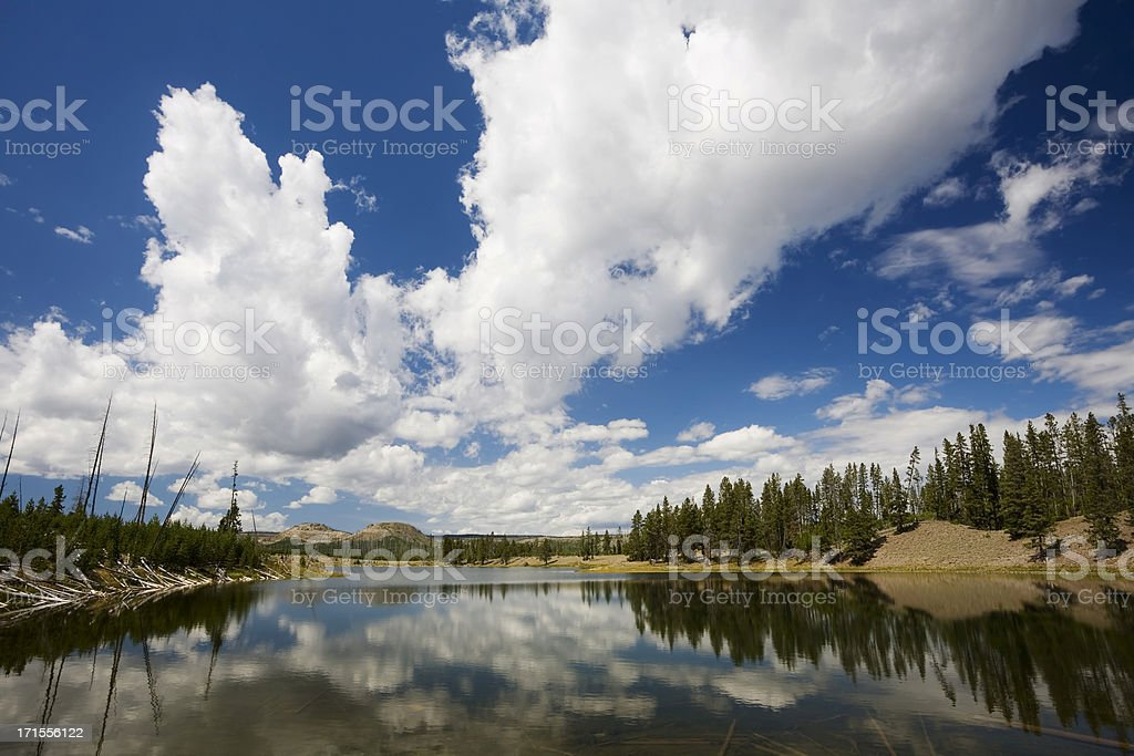 Yellowstone View with Lake and Clouds royalty-free stock photo