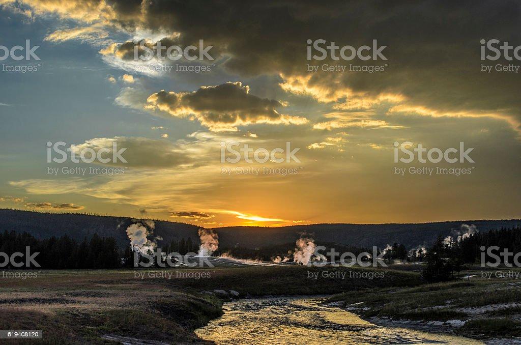 Yellowtone Sunset stock photo