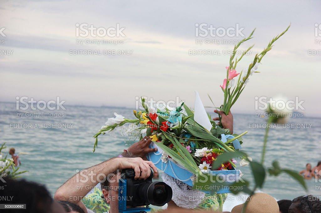 Yemanja Goddess of the Sea is celebrated in Copacabana stock photo