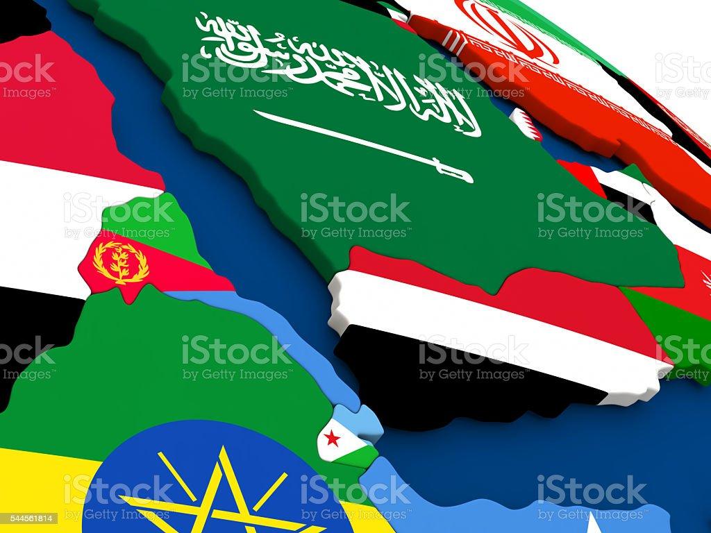 Yemen, Eritrea and Djibouti on globe with flags stock photo