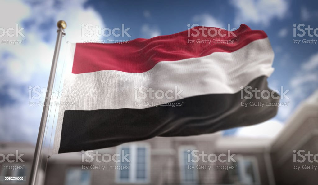 Yemen Flag 3D Rendering on Blue Sky Building Background stock photo