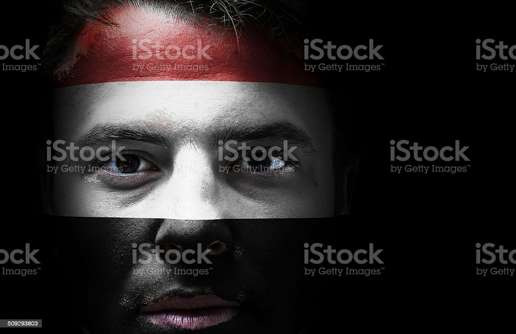 Yemen flag on face stock photo