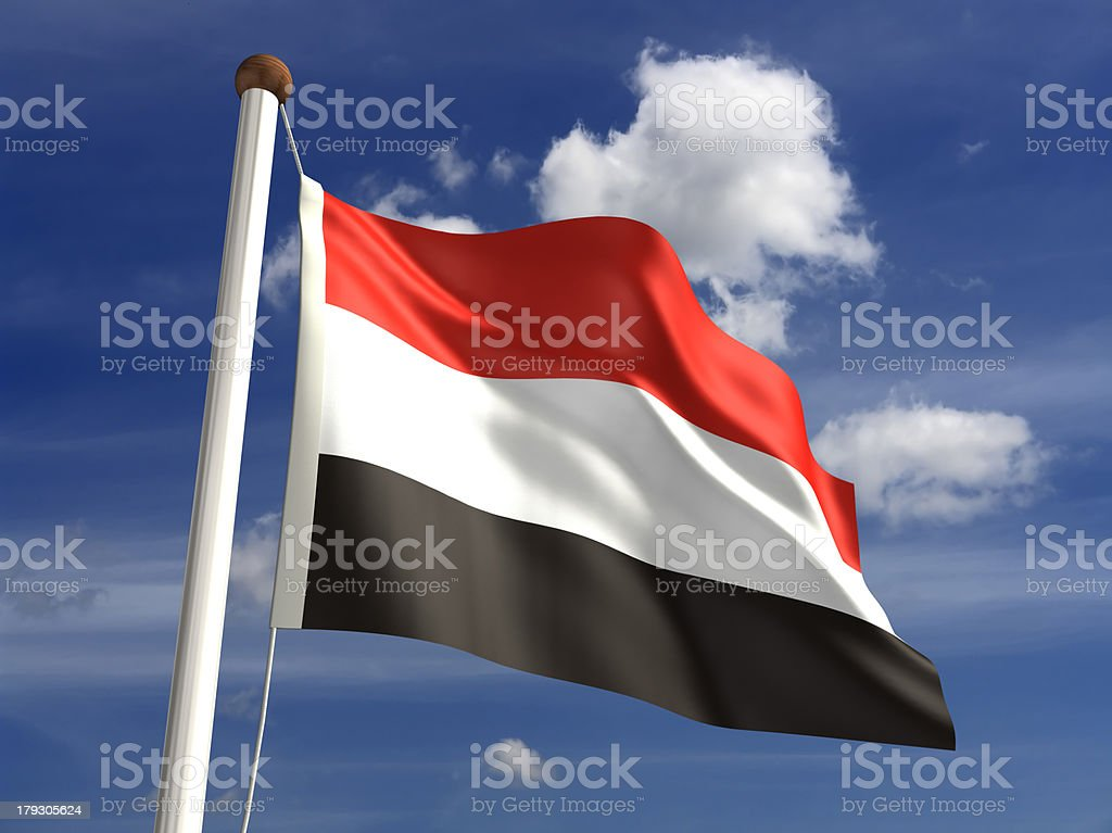 Yemen flag (with clipping path) stock photo