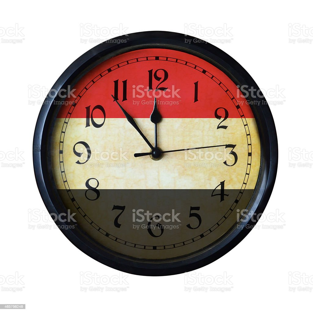 Yemen Flag Wall clock - Watch port for same series stock photo