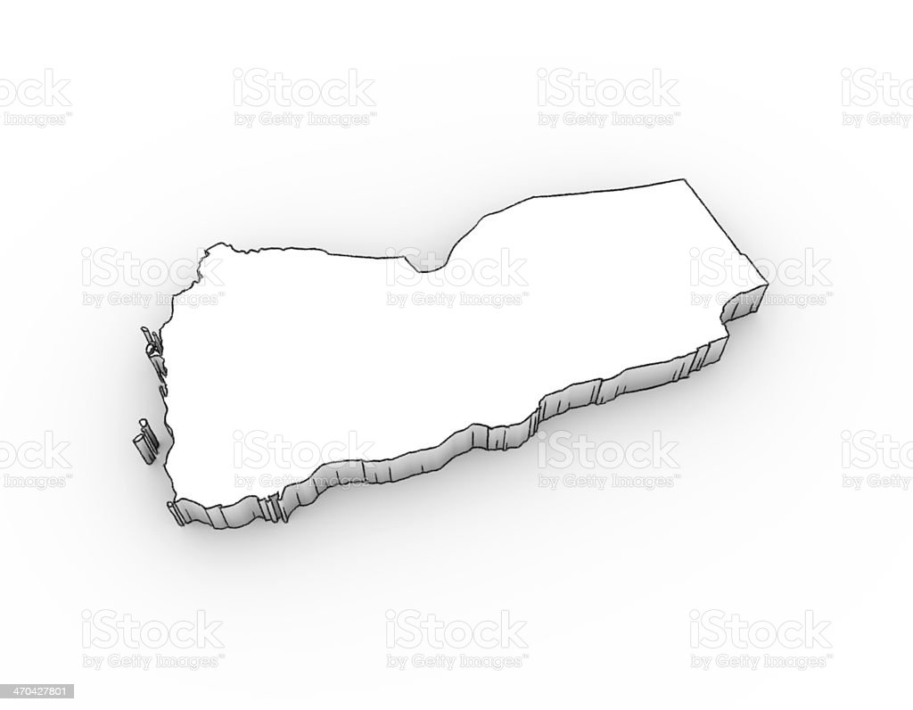 Yemen map 3D; looks like a drawing royalty-free stock photo