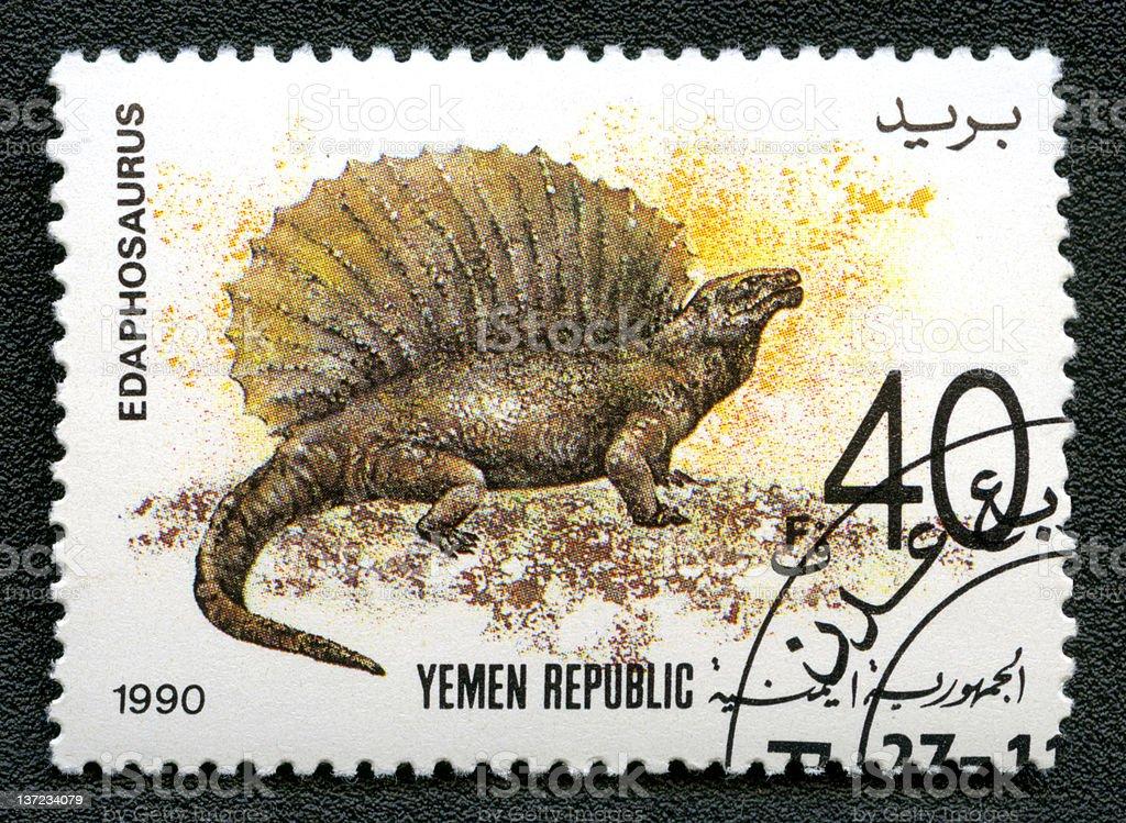 Yemen Republic Circa 1990 stamp shows Edaphosaurus series prehistoric animals stock photo