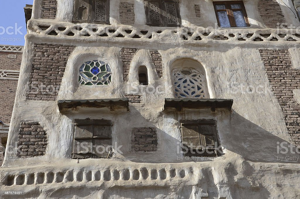 Yemen, Sana'a, the old city, part of ancient dwelling house stock photo