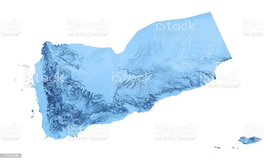 Yemen Topographic Map Isolated royalty-free stock photo