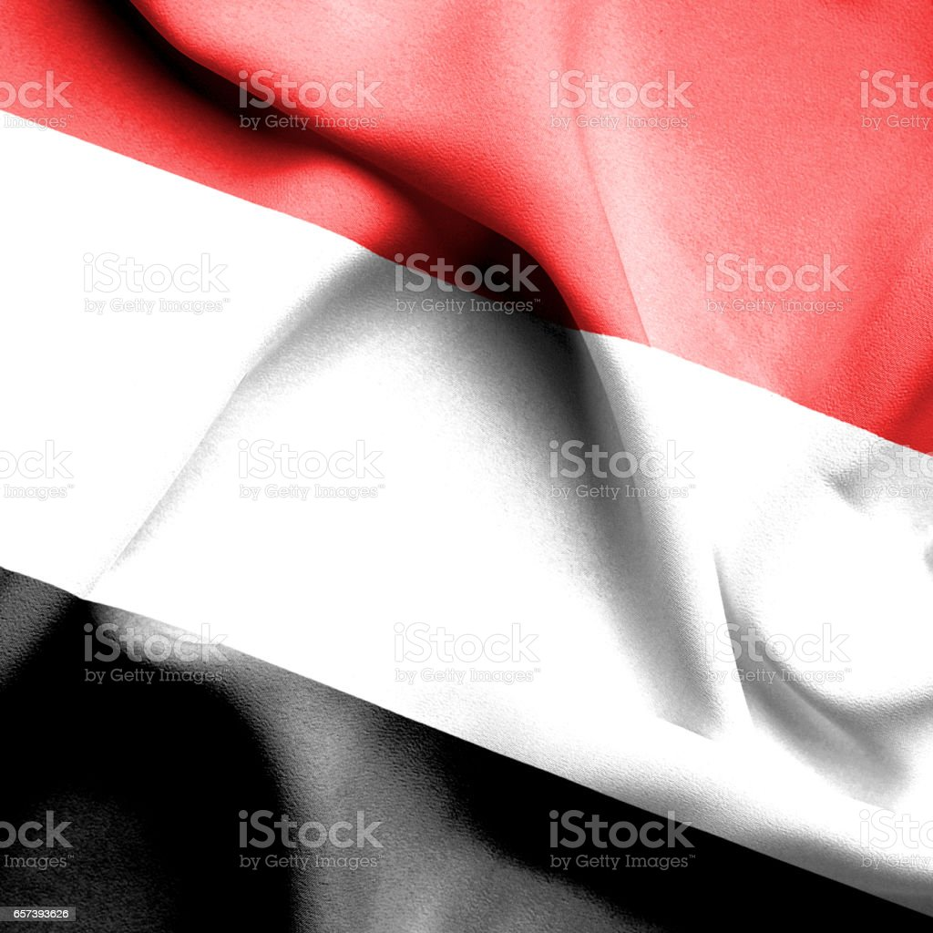Yemen waving flag stock photo