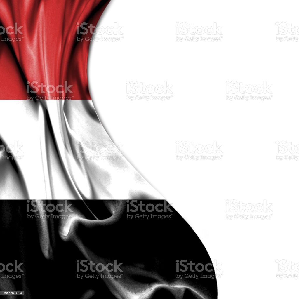 Yemen waving satin flag isolated on white background stock photo