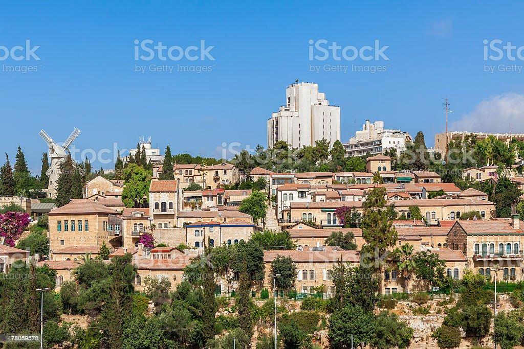 Yemin Moshe neighborhood in Jerusalem. stock photo