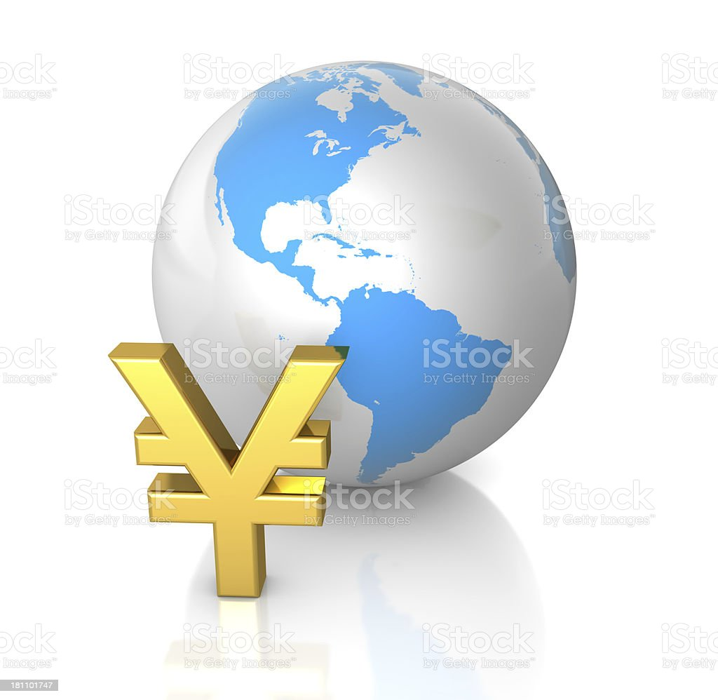 Yen and Globe royalty-free stock photo