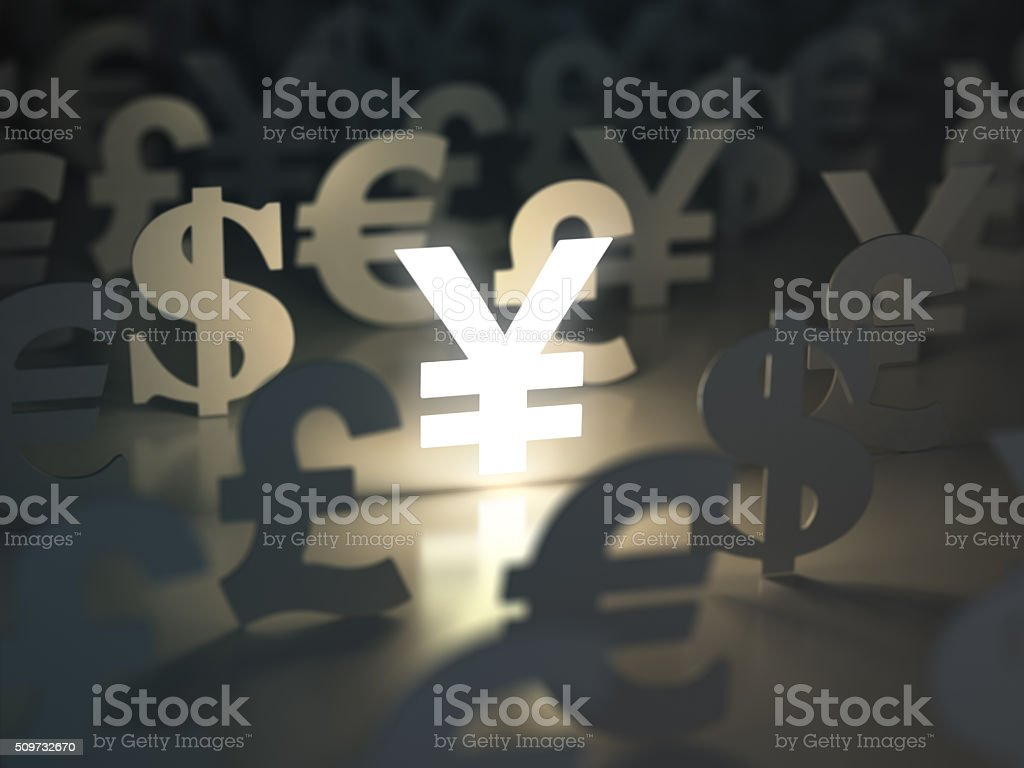 Yen, dollar, euro, and pound  signs. Currency exchange concept. stock photo
