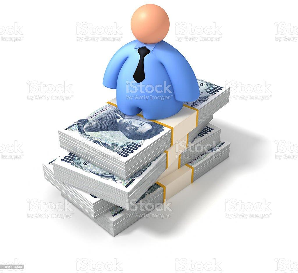 Yen piles stock photo