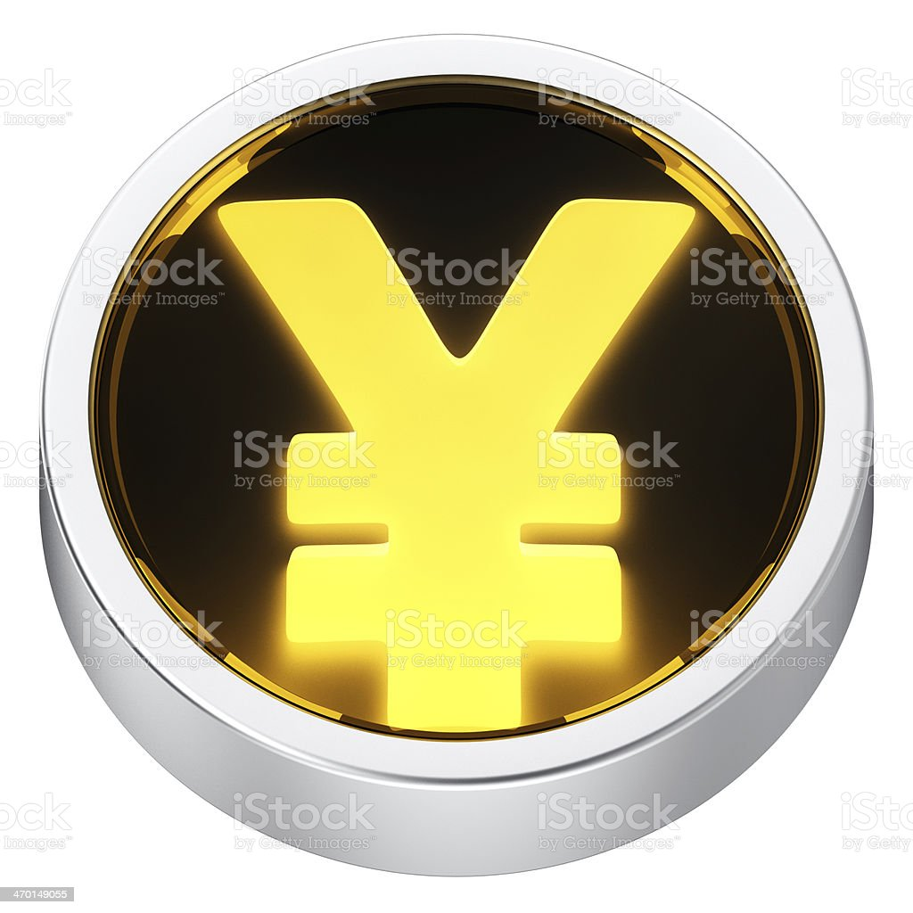 Yen round icon stock photo