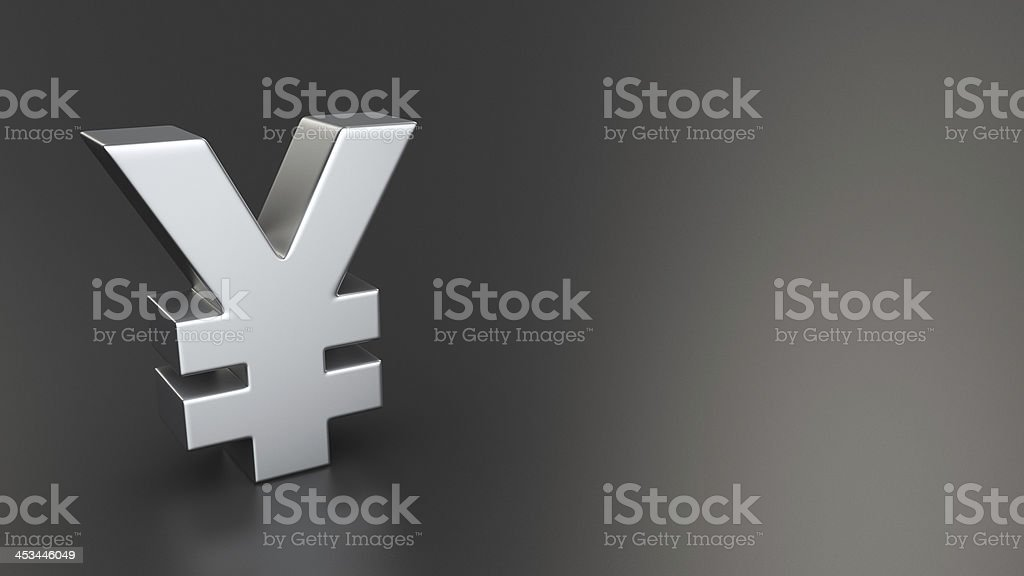 Yen symbol on black stock photo