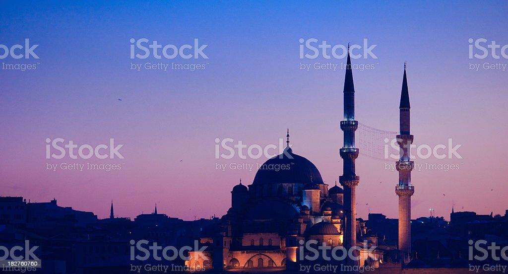 yeni cami mosque from galata bridge royalty-free stock photo