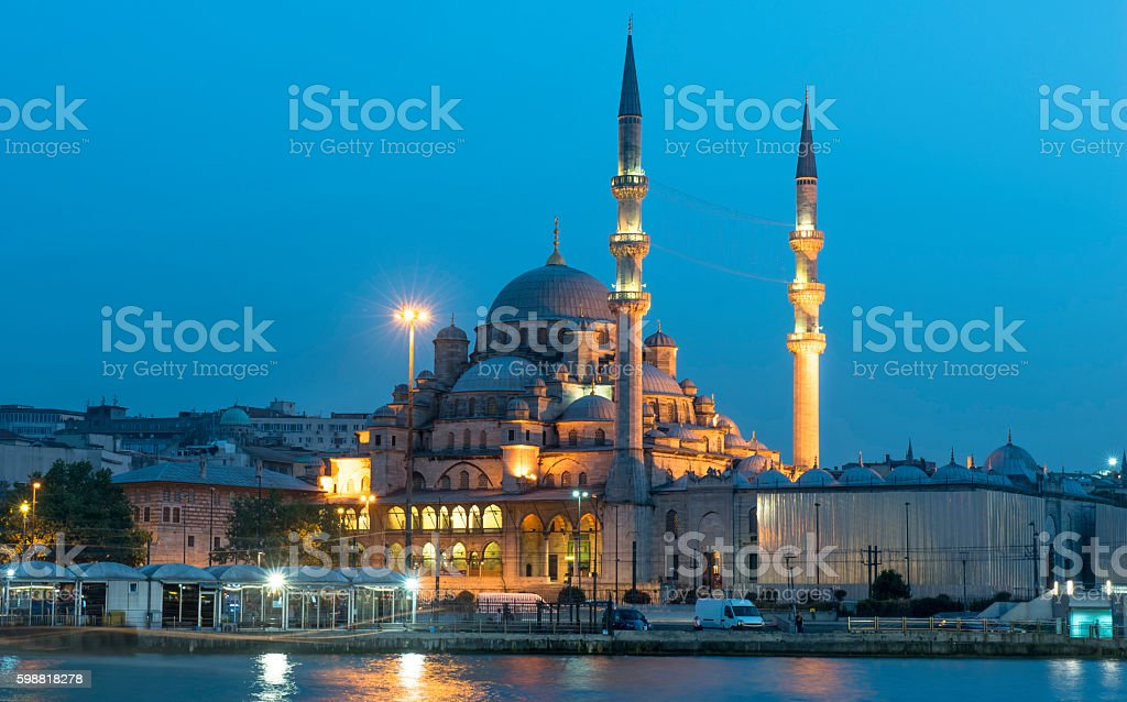 Yeni Cami Mosque under blue sky, Istanbul stock photo