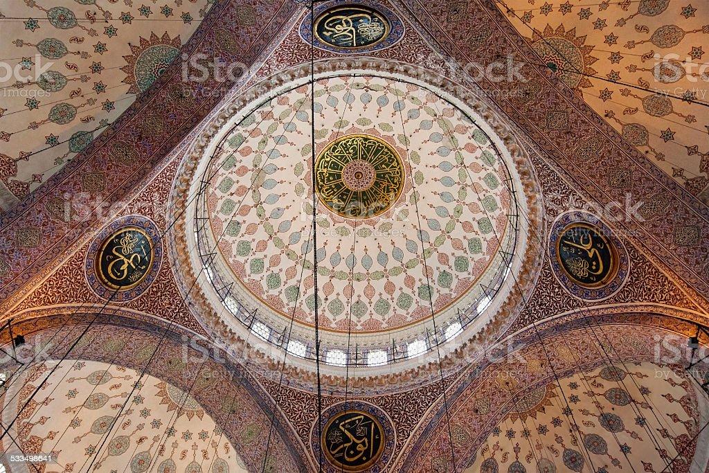 Yeni Camii ceiling stock photo